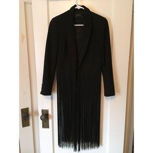Zara black fringe blazer